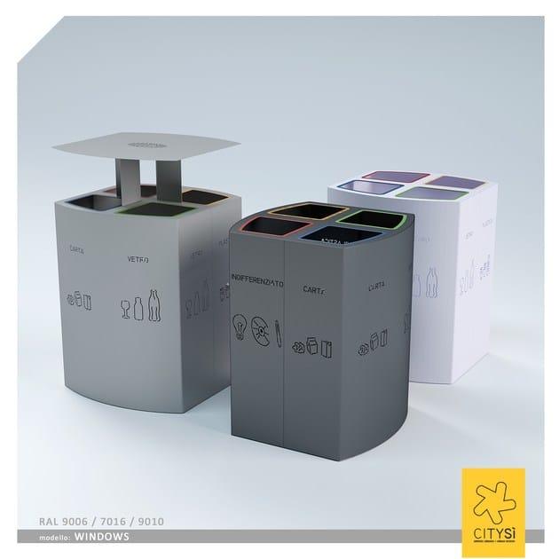 Outdoor metal waste bin with lid with ashtray WINDOWS BIN   Waste bin for waste sorting - CITYSì