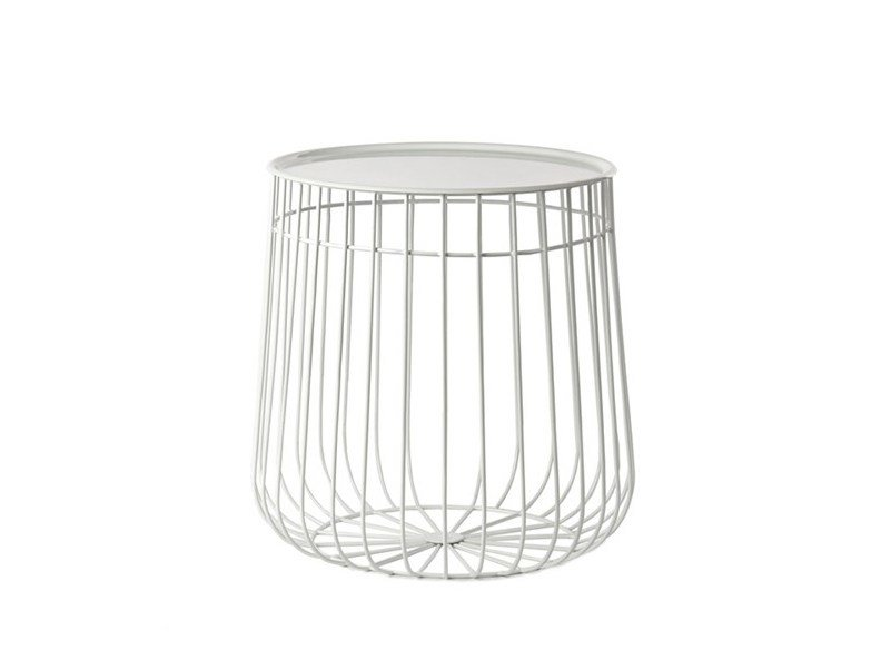 Round metal side table WIRE STORAGE | Side table - Pols Potten