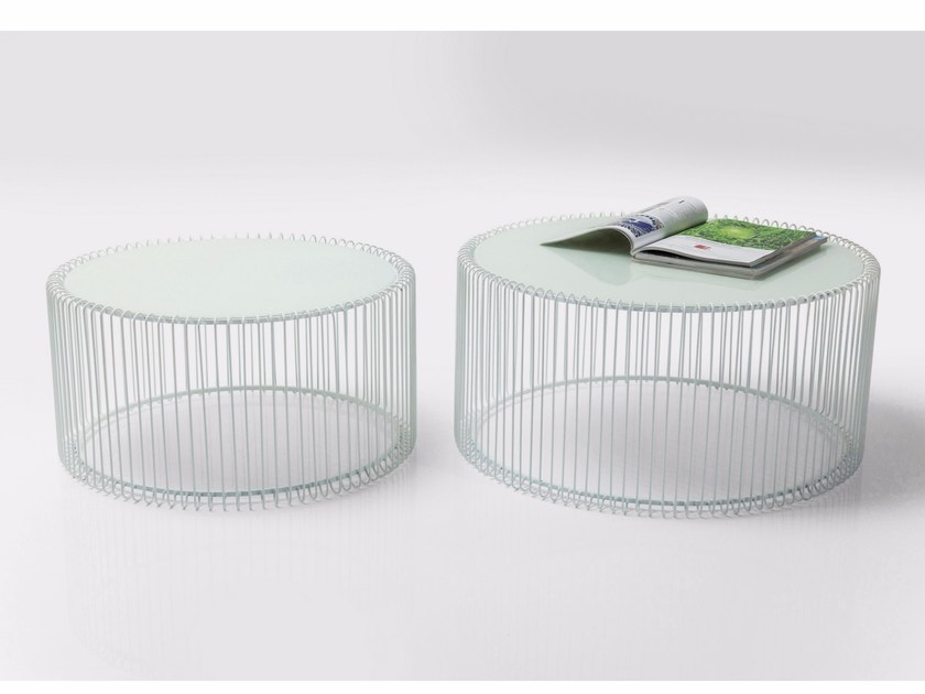 Round glass and steel coffee table WIRE WHITE by KARE-DESIGN