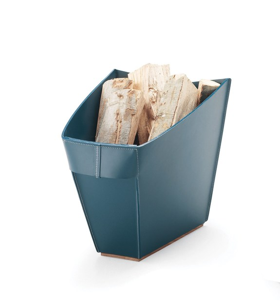 Tanned leather Log holder WOOD | Tanned leather Log holder - ITALY DREAM DESIGN - Kallisté