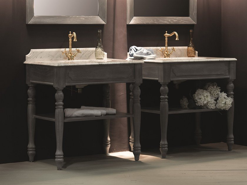 Classic style floor-standing wooden console sink with mirror WOODEN FURNITURE | Classic style console sink - BLEU PROVENCE
