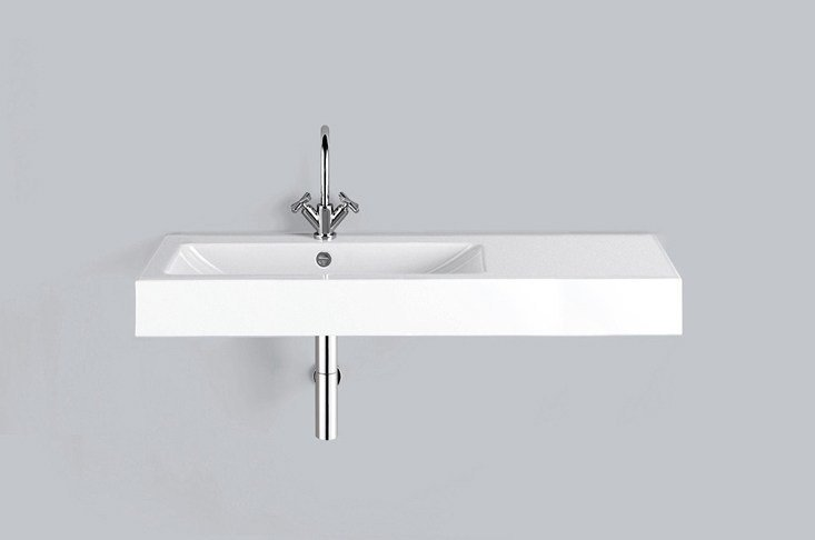 Rectangular wall-mounted enamelled steel washbasin WT.GR1250H.L/R by Alape