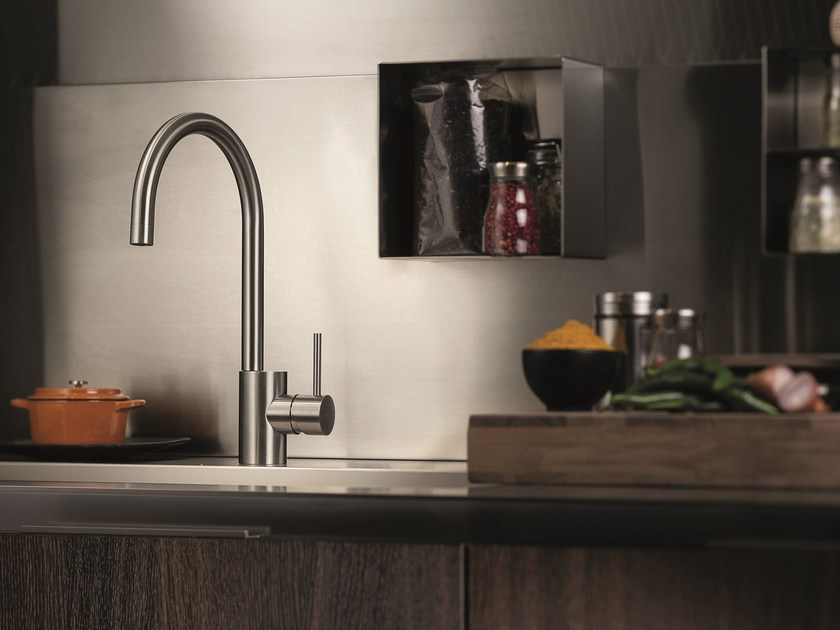 Countertop stainless steel kitchen mixer tap with swivel spout X-MIX | Kitchen mixer tap by NEWFORM