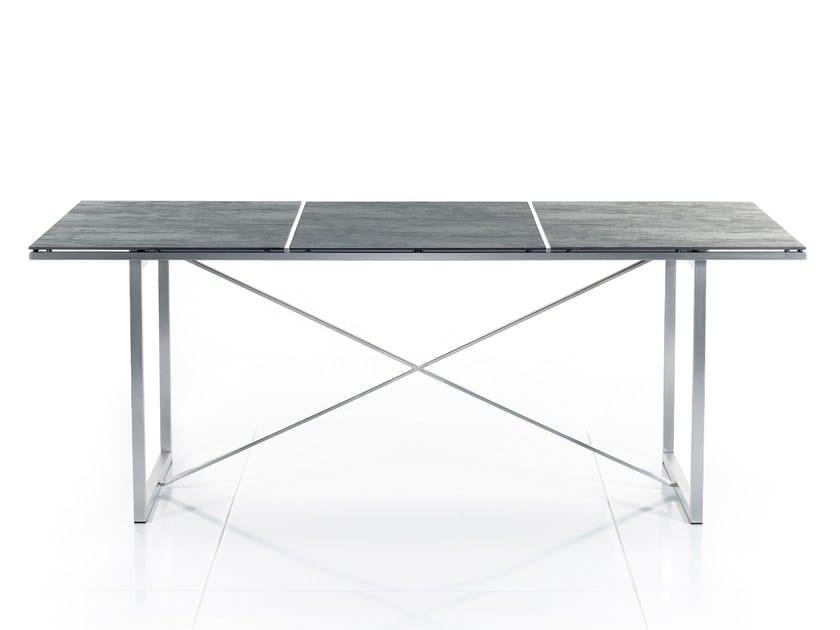 Rectangular ceramic garden table X-SERIES STAINLESS STEEL - solpuri