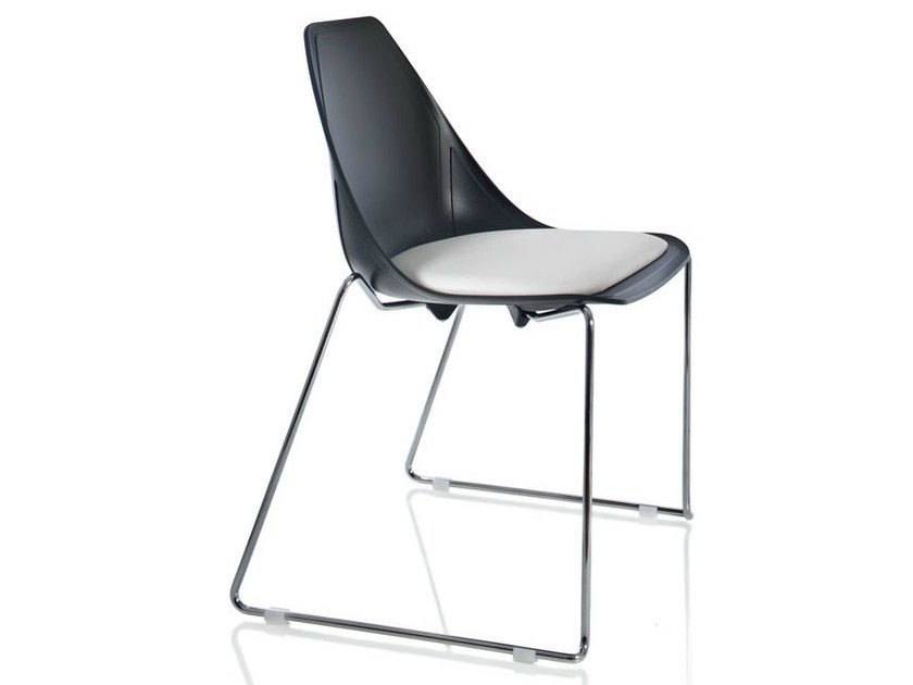 Sled base upholstered chair X SLED SOFT - ALMA DESIGN