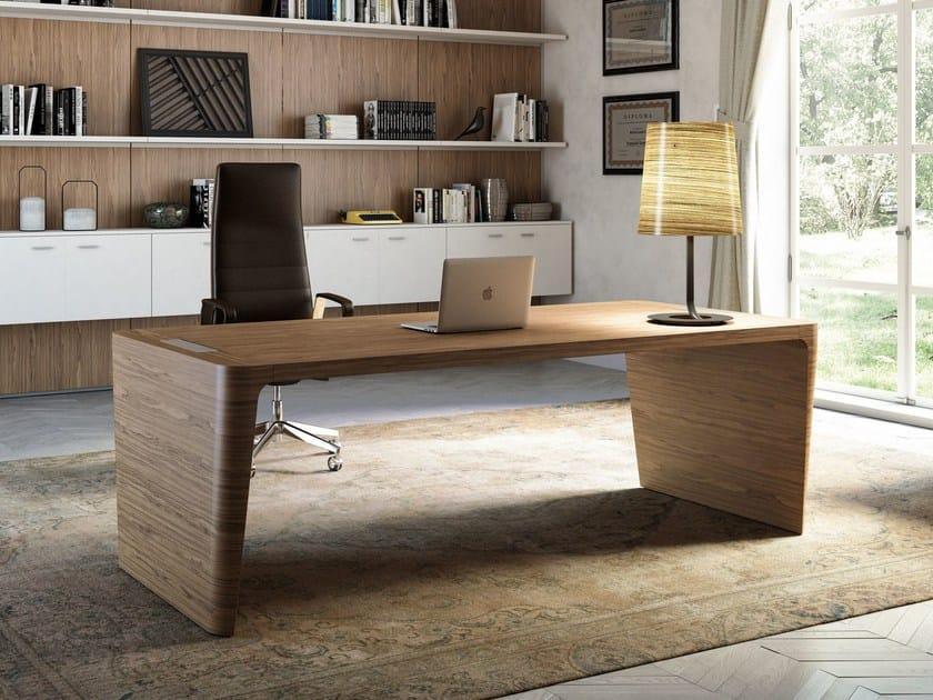 Rectangular executive desk with cable management X10   Rectangular office desk by Quadrifoglio