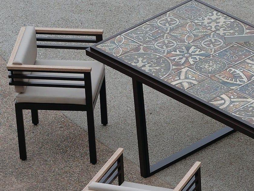 Aluminium garden chair with armrests XENIA | Aluminium garden chair by Efasma