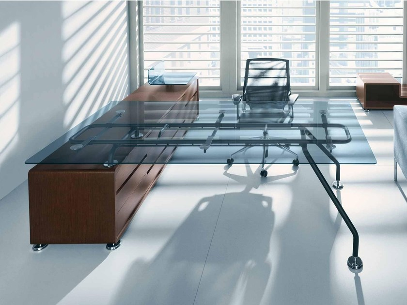 Rectangular glass executive desk XEON | Office desk - BALMA