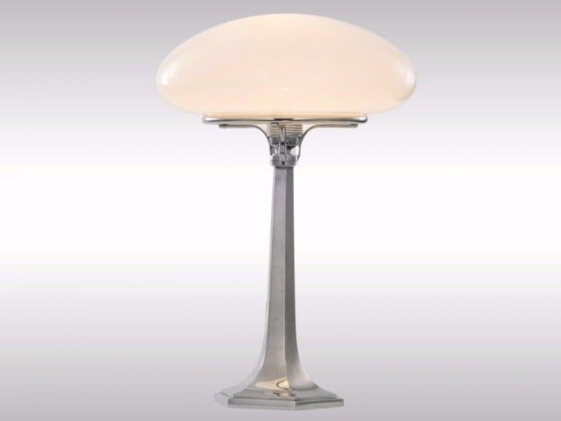Brass and opal glass table lamp XNT1 - Woka Lamps Vienna