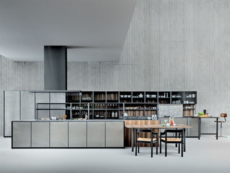 Fitted kitchen with island without handles XP/02 by Zampieri Cucine