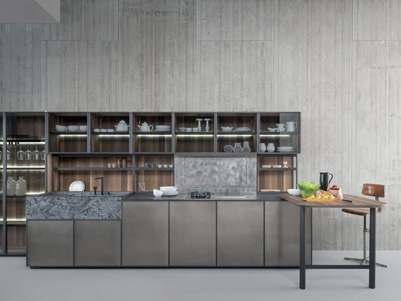Cucina componibile con isola senza maniglie xp 02 zampieri cucine - Zampieri cucine showroom ...