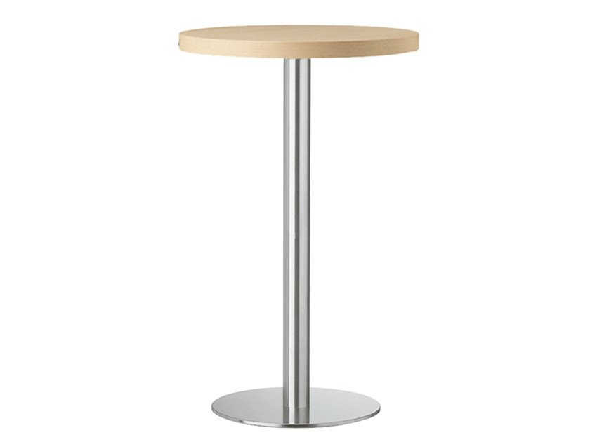 Round steel and wood high table XT 478A - Metalmobil