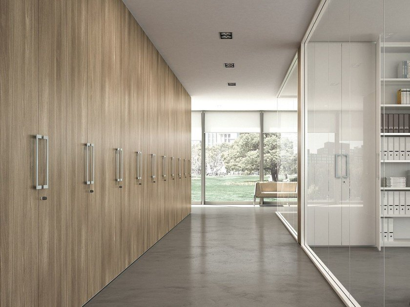 Tall office storage unit with hinged doors XW - S1 by Quadrifoglio