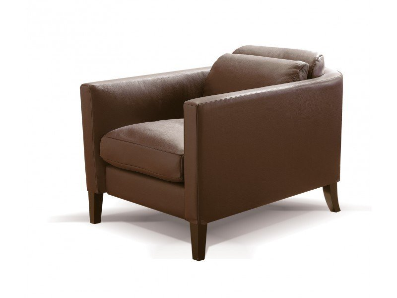 Leather armchair with armrests YANG - Canapés Duvivier