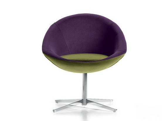 Fabric easy chair with 4-spoke base YOGA by D.M.
