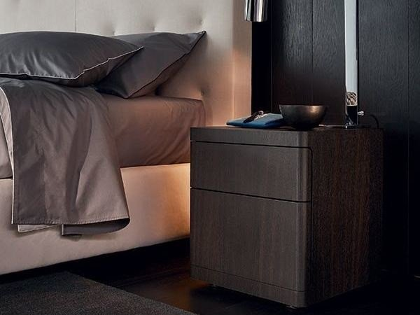 Wooden bedside table with drawers YOU | Bedside table by poliform