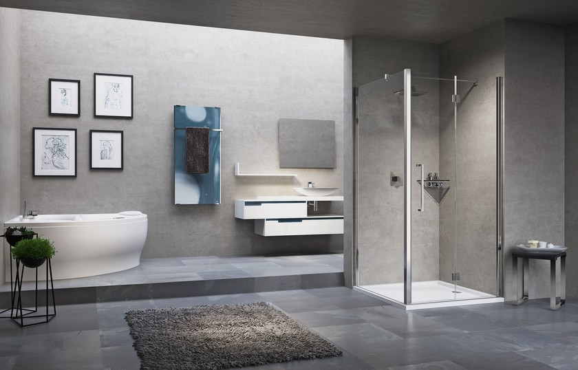 Corner shower cabin with hinged door YOUNG 2.0 1B+F1B by NOVELLINI