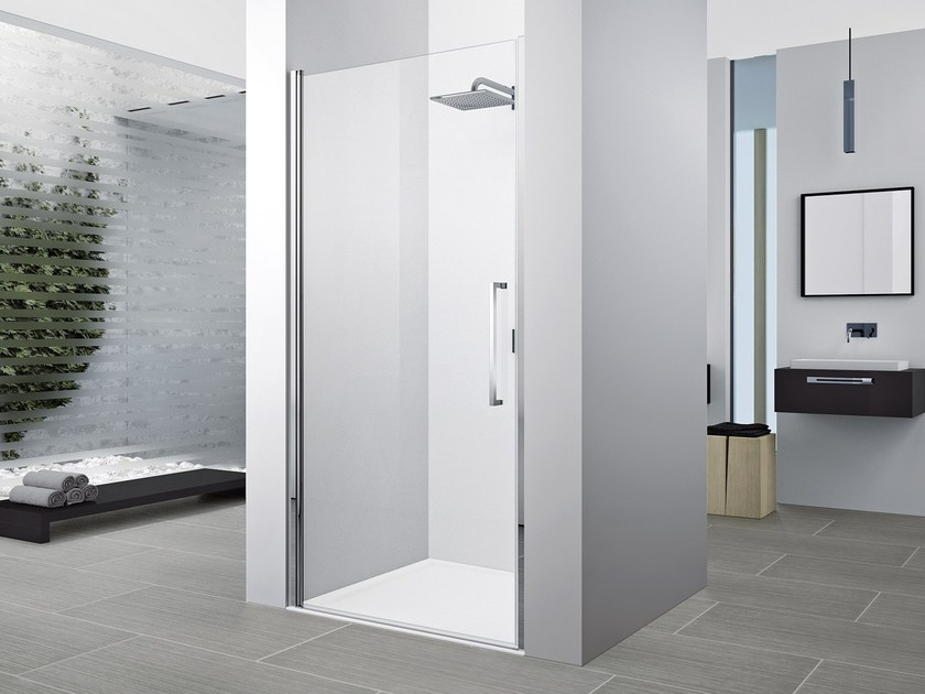 Corner shower cabin with hinged door YOUNG 2.0 1B - NOVELLINI