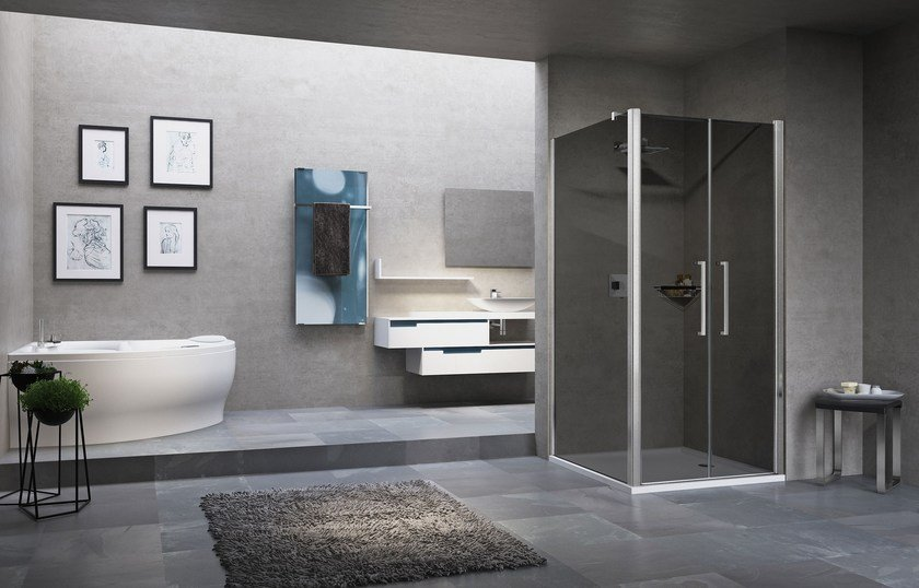 Corner shower cabin with hinged door YOUNG 2.0 2B+F2B - NOVELLINI