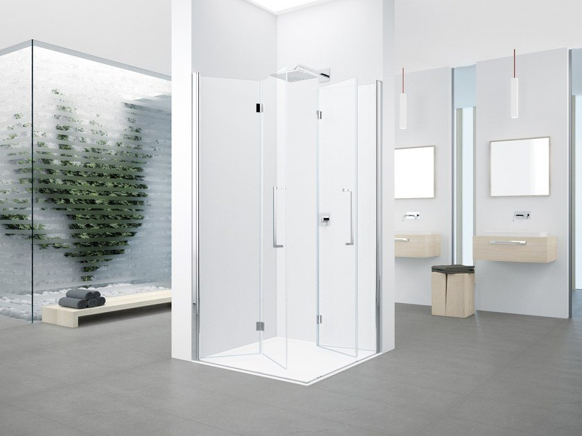 Corner shower cabin with folding door YOUNG 2.0 2GS - NOVELLINI