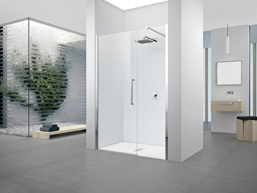 Shower cabin with hinged door YOUNG 2.0 G+F IN LINE - NOVELLINI