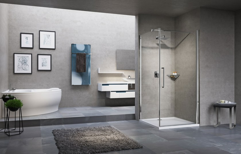 Corner shower cabin with hinged door YOUNG 2.0 G+FG - NOVELLINI