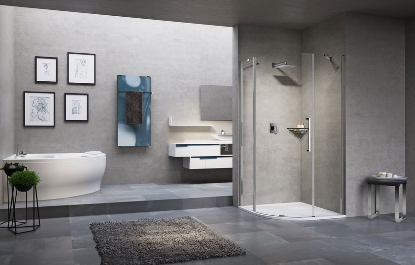 Semicircular shower cabin with hinged door YOUNG 2.0 R1 by NOVELLINI