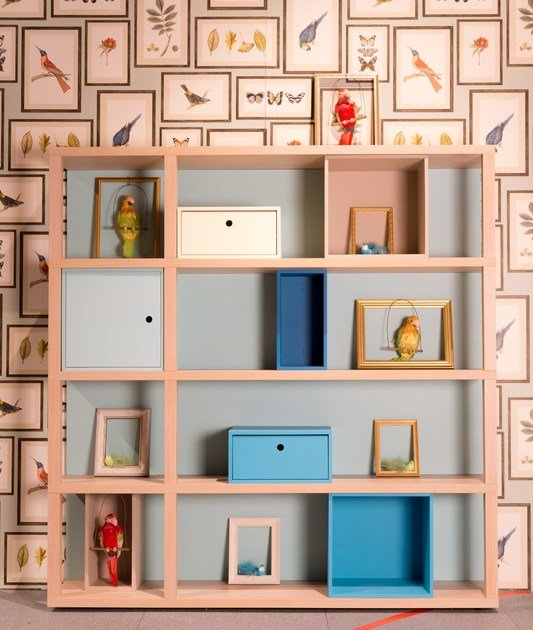 Sectional lacquered wooden bookcase with drawers YOUNG | Modular bookcase by dearkids