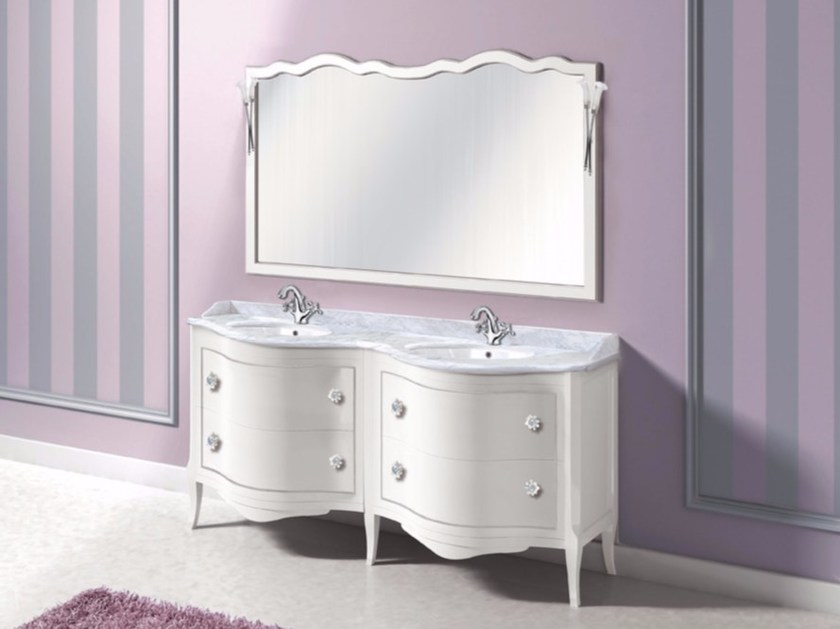 Double vanity unit with drawers with mirror ZACINTO CM09CY - LA BUSSOLA