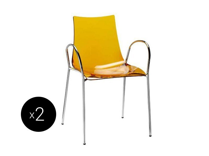 Ergonomic stackable chair with armrests ZEBRA ANTISHOCK | Chair with armrests by SCAB DESIGN