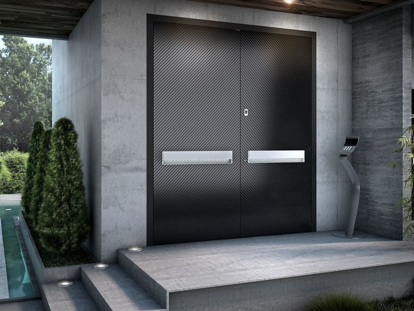 Porta d 39 ingresso a filo muro in metallo zen carbon by for Porte and a 3 ingressi