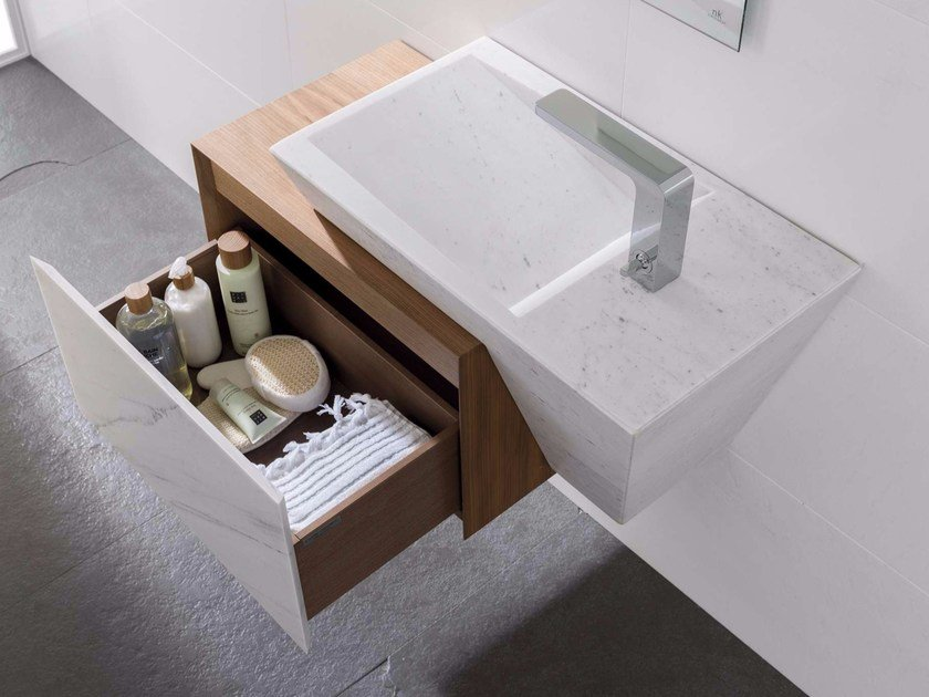 Rectangular natural stone washbasin with drawers with integrated countertop ZEN STONE BIOPROT - L'Antic Colonial