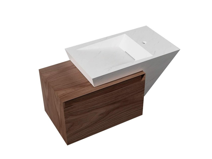 Rectangular wall-mounted natural stone washbasin with integrated countertop ZEN WOOD BIOPROT by L'antic Colonial