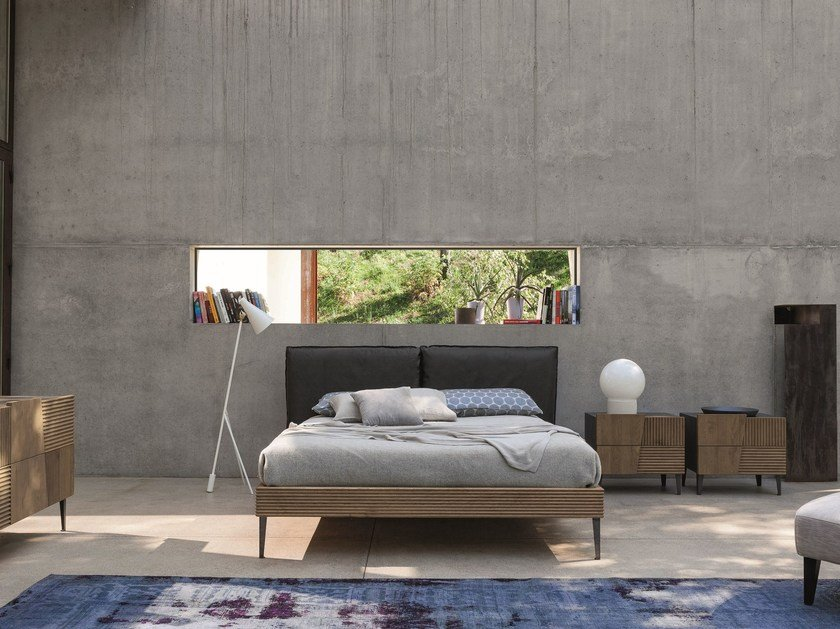 Contemporary style upholstered wooden bed with upholstered headboard with removable cover ZERO.16 | Contemporary style bed - Devina Nais