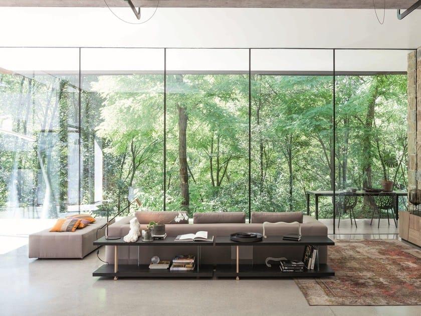 Contemporary style open freestanding double-sided wooden bookcase ZERO.16 | Contemporary style bookcase - Devina Nais