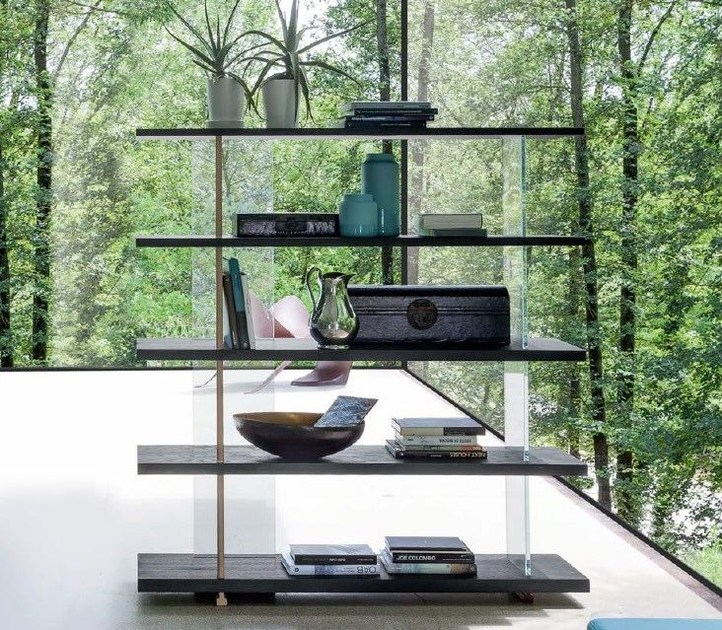 Double-sided wooden bookcase ZERO.16 | Glass bookcase - Devina Nais