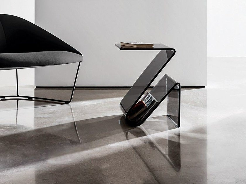 Glass coffee table with integrated magazine rack ZETA by Sovet italia