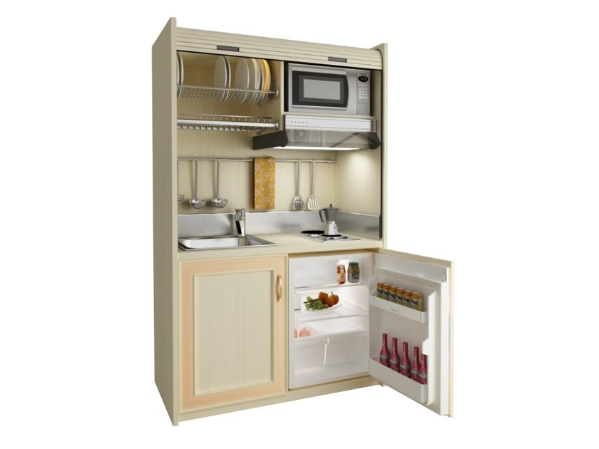 Wooden mini kitchen with tambour doors AMARCORD K114 - MOBILSPAZIO Contract