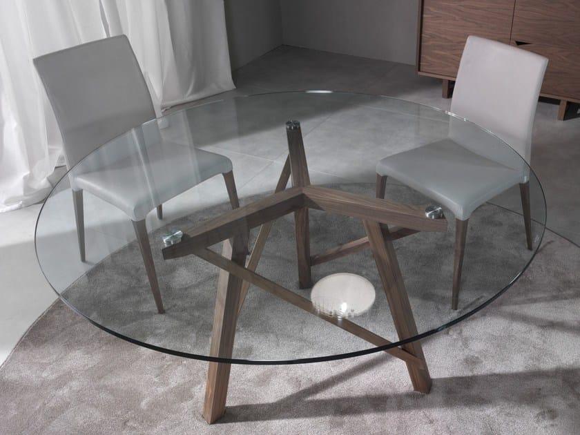 Tavolo rotondo in legno e vetro zeus tavolo rotondo for Tavolo legno e vetro