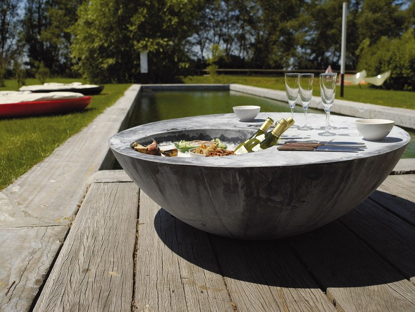 Zinc garden side table with ice bucket ZINC COOL TABLE - Domani