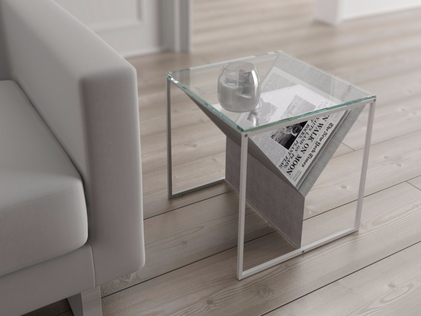 Glass and steel coffee table with integrated magazine rack ZINCR by Systemtronic