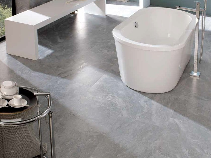 Indoor/outdoor porcelain stoneware flooring with stone effect ZURICH | Porcelain stoneware flooring - Venis