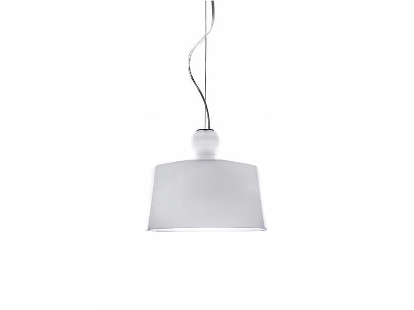 Blown glass pendant lamp ACQUATINTA XL GLAZED WHITE - Produzione Privata