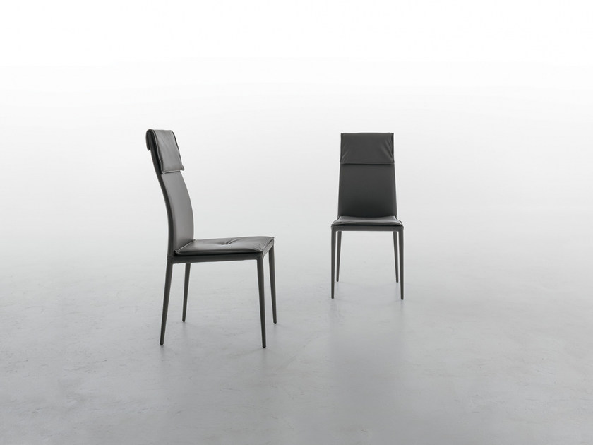 Upholstered leather chair ADRIA by Tonin Casa
