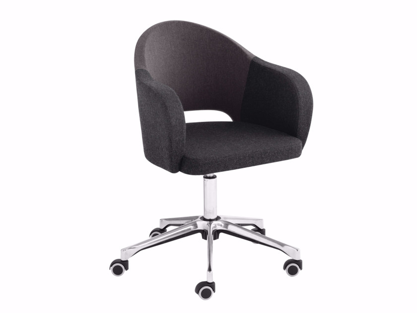 Swivel upholstered easy chair with casters Agatha 046DR - Metalmobil