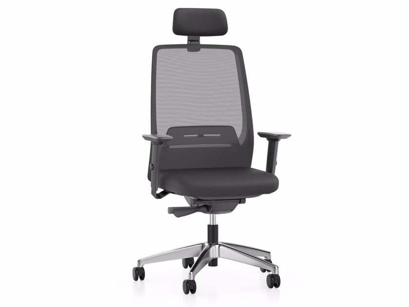 Mesh executive chair with 5-spoke base with armrests with headrest AIM IS1 1S33 by Interstuhl