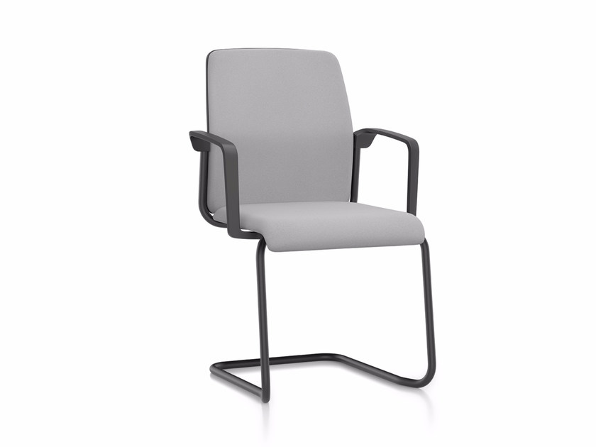 Cantilever upholstered fabric reception chair AIM IS1 5S50 by Interstuhl