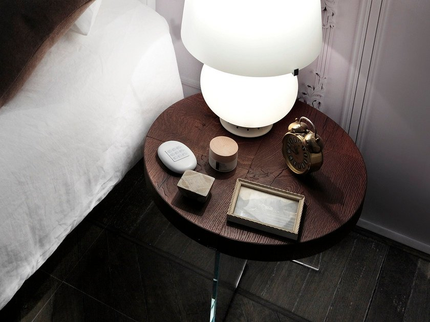 Round wooden bedside table AIR | Bedside table - Lago