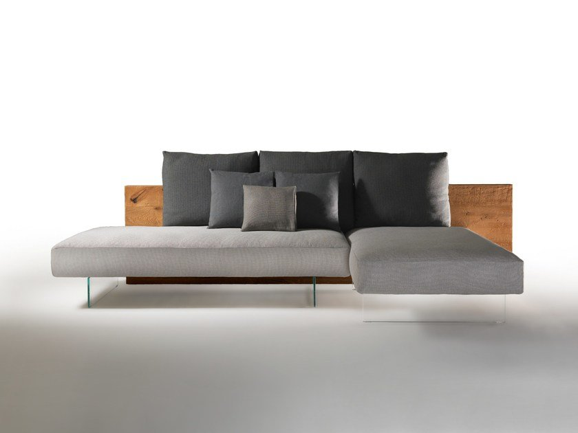 Fabric sofa with chaise longue AIR WILDWOOD SOFA by Lago
