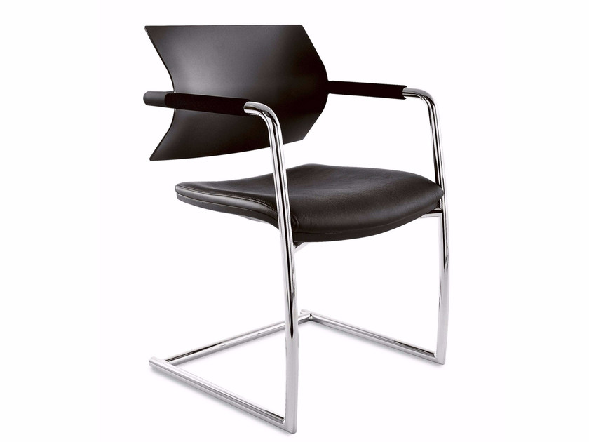 Cantilever upholstered polypropylene and leather chair AIRE JR | Cantilever chair - Luxy